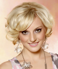 Short Curly Formal Layered Bob  Hairstyle with Side Swept Bangs  - Light Golden Blonde Hair Color
