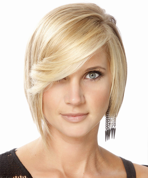 Medium Straight   Light Golden Blonde Bob  Haircut with Side Swept Bangs  and Light Blonde Highlights