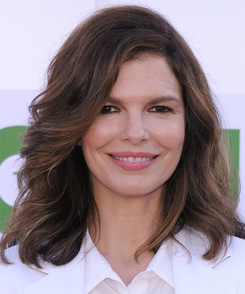 Jeanne Tripplehorn Medium Wavy Casual    Hairstyle   -  Chocolate Brunette Hair Color with Light Brunette Highlights