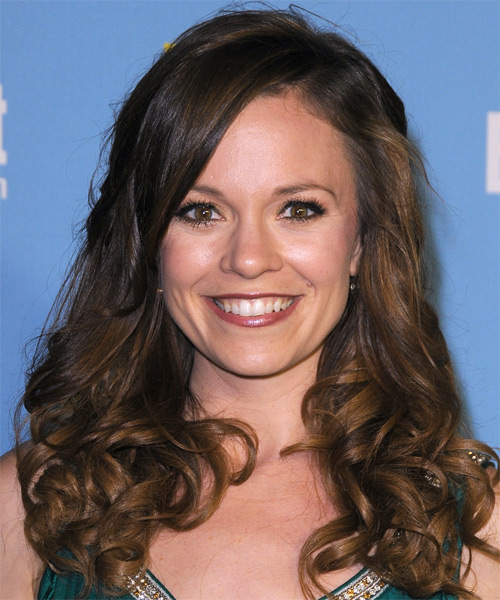 Rachel Boston Long Curly Casual    Hairstyle   - Dark Mocha Brunette Hair Color with  Brunette Highlights