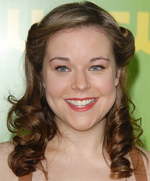 Tina Majorino  Long Curly Formal   Half Up Hairstyle