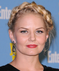 Jennifer Morrison  Long Curly Casual  Braided Updo Hairstyle   - Light Golden Blonde Hair Color