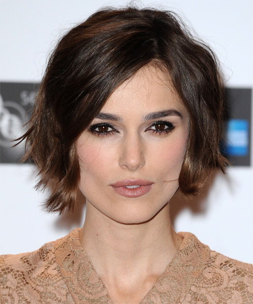 Keira Knightley Short Straight Casual    Hairstyle   - Dark Mocha Brunette Hair Color with Medium Brunette Highlights