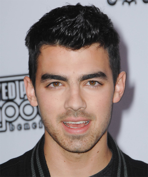 Joe Jonas Short Straight Casual Hairstyle Black Ash