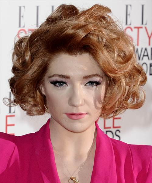 Nicola Roberts Short Curly Formal Layered Bob  Hairstyle   - Light Copper Red Hair Color
