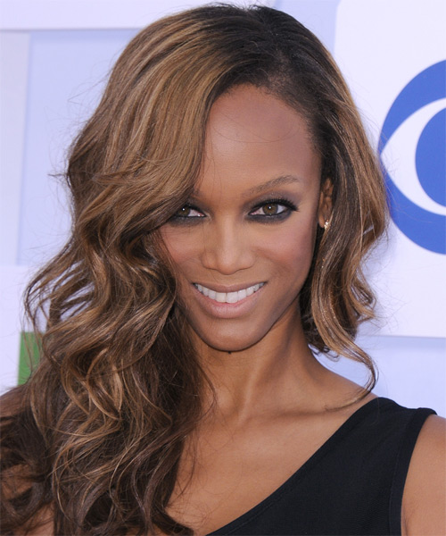 Tyra Banks Long Wavy Casual    Hairstyle   - Black Caramel  Hair Color with Light Brunette Highlights
