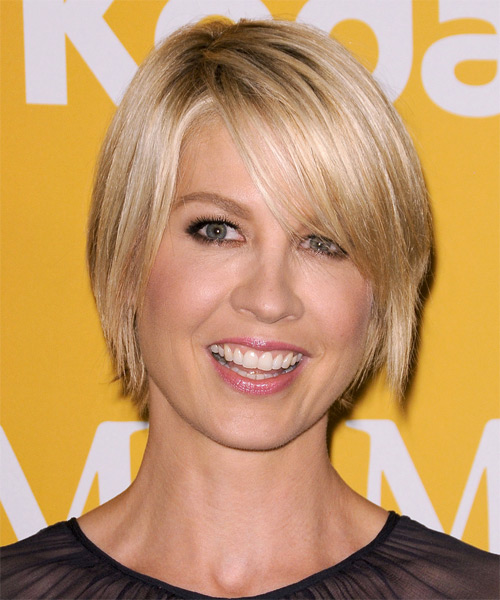 Jenna Elfman Short Straight Casual  Bob  Hairstyle with Side Swept Bangs  - Light Blonde Hair Color