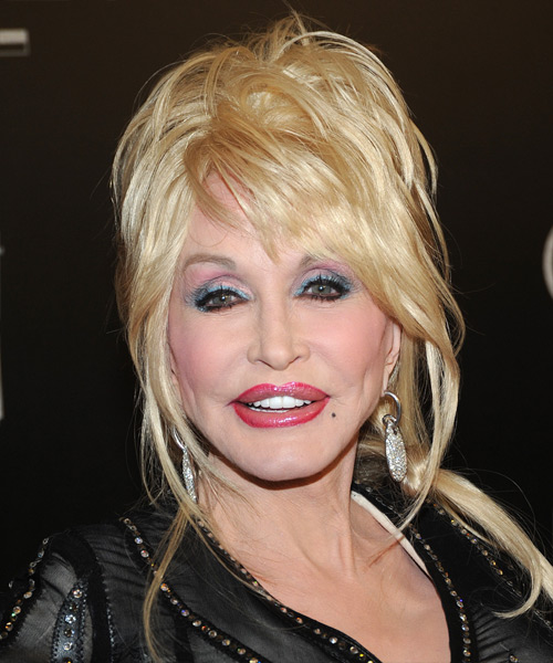 Dolly Parton Updo Long Straight Casual  Updo Hairstyle with Side Swept Bangs  - Light Blonde (Platinum)