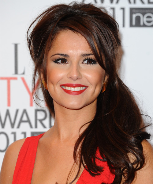 Cheryl Cole  Long Straight Casual   Half Up Hairstyle with Side Swept Bangs  - Dark Mocha Brunette Hair Color