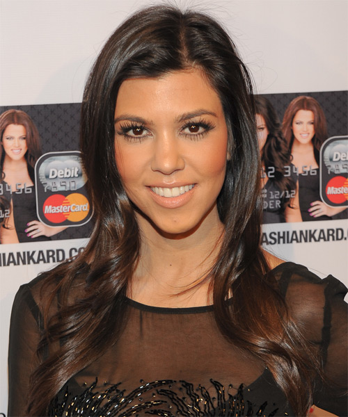 Kourtney Kardashian Long Straight Formal    Hairstyle   - Dark Chocolate Brunette Hair Color