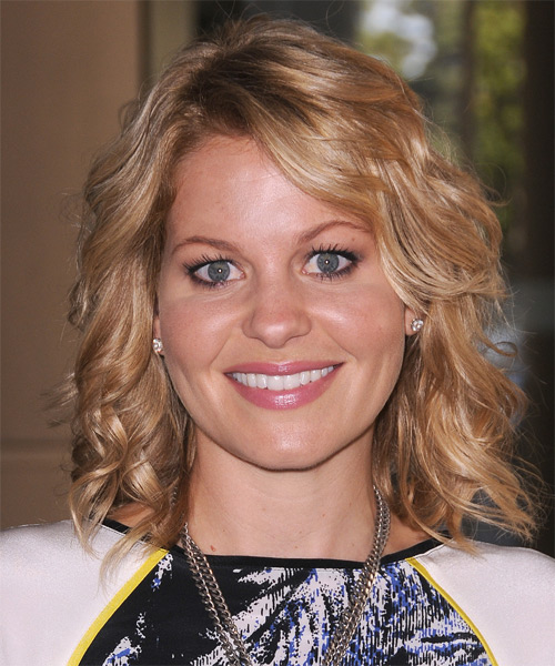 Candace Cameron Bure Medium Wavy    Golden Blonde   Hairstyle with Side Swept Bangs  and Light Blonde Highlights