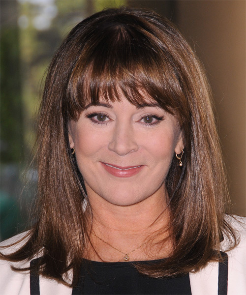 Patricia Richardson Medium Straight Casual   Hairstyle with Blunt Cut Bangs  - Medium Brunette (Mocha)