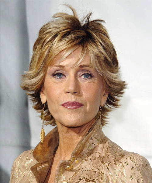 Jane Fonda Short Straight Formal    Hairstyle   - Dark Golden Blonde Hair Color