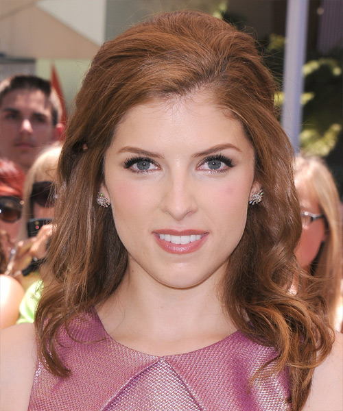 Anna Kendrick  Medium Curly Casual   Half Up Hairstyle   - Medium Red Hair Color