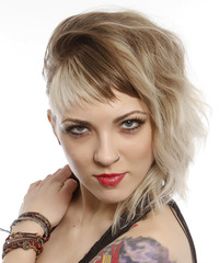 Medium Wavy Alternative    Hairstyle with Asymmetrical Bangs  - Light Blonde and Light Brunette Two-Tone Hair Color
