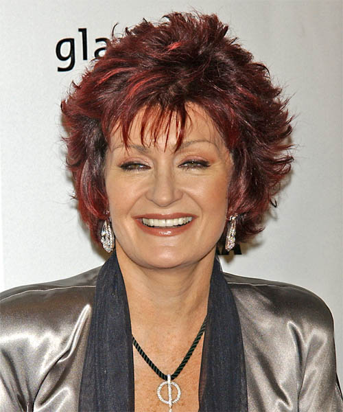 Sharon Osbourne Medium Straight Formal   Hairstyle with Layered Bangs