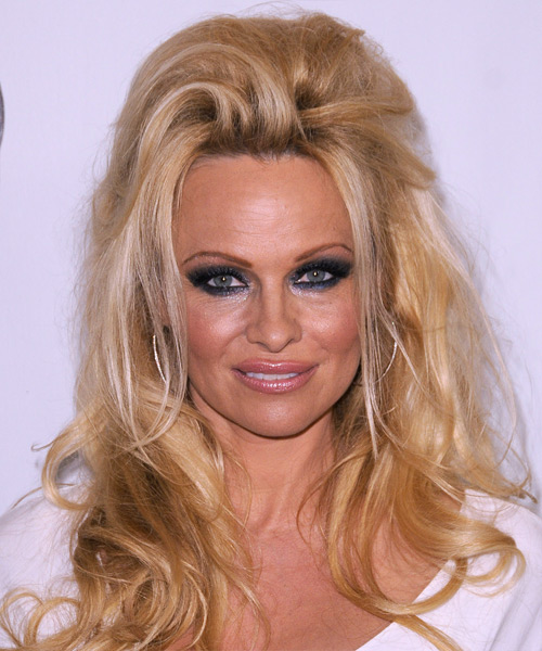 Pamela Anderson  Long Straight Casual   Half Up Hairstyle   - Medium Golden Brunette Hair Color