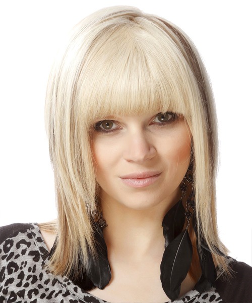 Medium Straight   Light Bright Blonde and  Brunette Two-Tone   Hairstyle with Blunt Cut Bangs