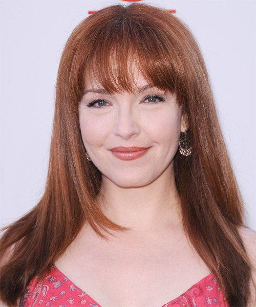 Amy Yasbeck Long Straight Formal   Hairstyle with Layered Bangs  - Medium Red