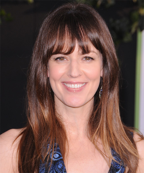 Rosemarie DeWitt Long Straight    Brunette   Hairstyle with Layered Bangs