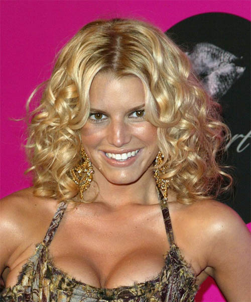 Jessica Simpson Medium Curly Layered  Bob  Haircut