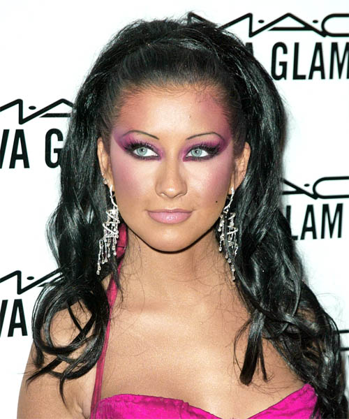 Christina Aguilera Half Up Long Curly Formal  Half Up Hairstyle   - Black