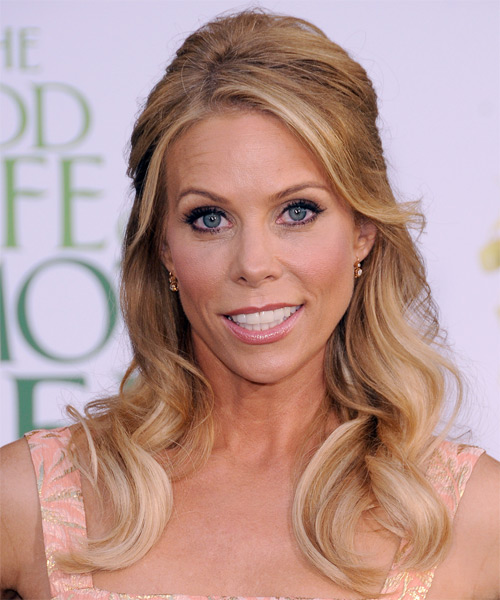 Cheryl Hines  Long Curly Casual   Half Up Hairstyle with Side Swept Bangs  - Light Copper Brunette Hair Color with Light Blonde Highlights