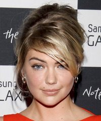 Kate Upton  Long Straight Casual   Updo Hairstyle with Side Swept Bangs  -  Ash Blonde Hair Color with Light Blonde Highlights
