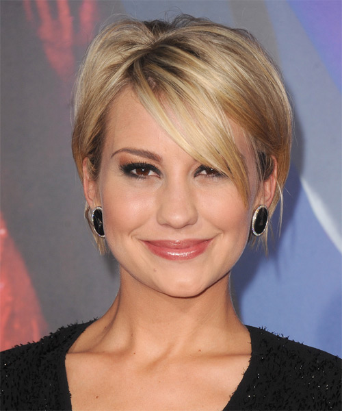 Chelsea Kane Short Straight Casual    Hairstyle with Side Swept Bangs  - Medium Golden Blonde Hair Color with Light Blonde Highlights