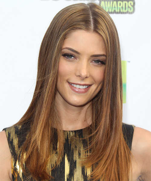 Ashley Greene Long Straight Formal    Hairstyle   - Medium Chestnut Brunette Hair Color with Medium Blonde Highlights