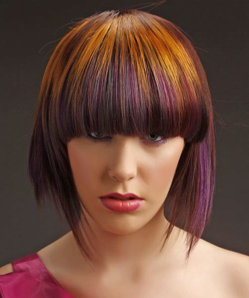 Medium Straight Alternative  Emo  Hairstyle with Blunt Cut Bangs  - Medium Copper Brunette Hair Color with Purple Highlights