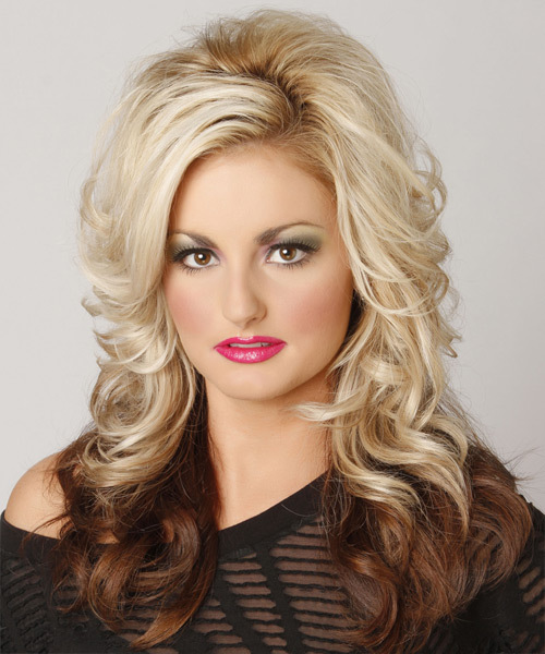 Long Wavy Formal    Hairstyle with Side Swept Bangs  - Light Chocolate Blonde and  Brunette Two-Tone Hair Color