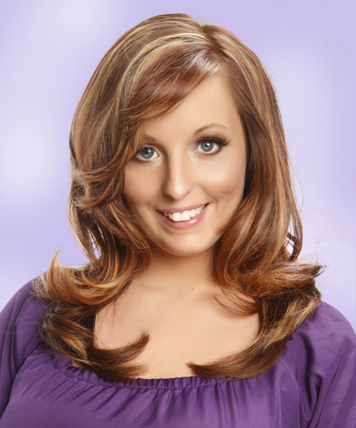 Long Straight    Caramel Brunette   Hairstyle with Side Swept Bangs  and Light Blonde Highlights