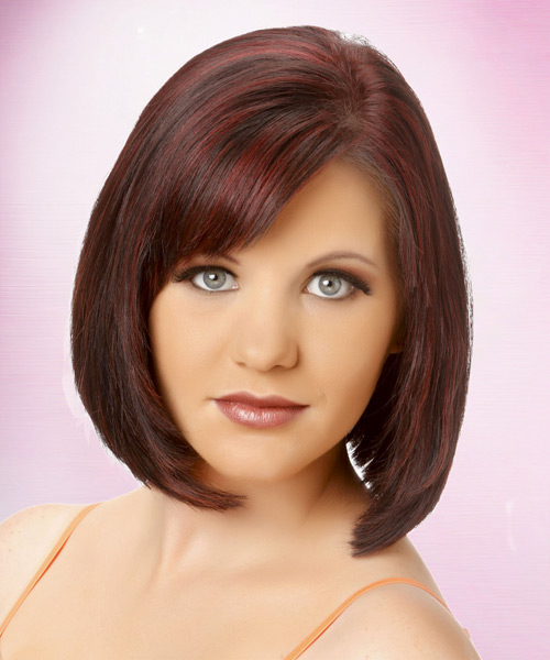 Medium Straight Layered   Burgundy Brunette Bob  Haircut with Side Swept Bangs  and  Red Highlights