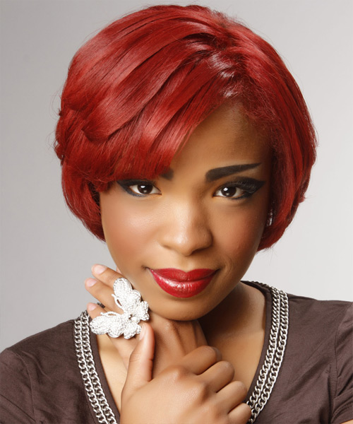 Short Straight    Bright Red   Hairstyle with Side Swept Bangs