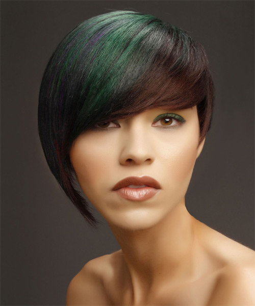 Short Straight Alternative  Asymmetrical  Hairstyle with Side Swept Bangs  - Medium Brunette and Green Two-Tone Hair Color with Purple Highlights