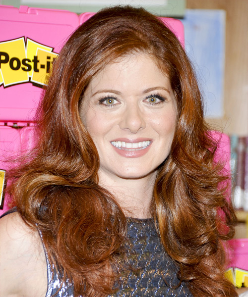 Debra Messing Long Wavy Casual    Hairstyle   -  Copper Red Hair Color