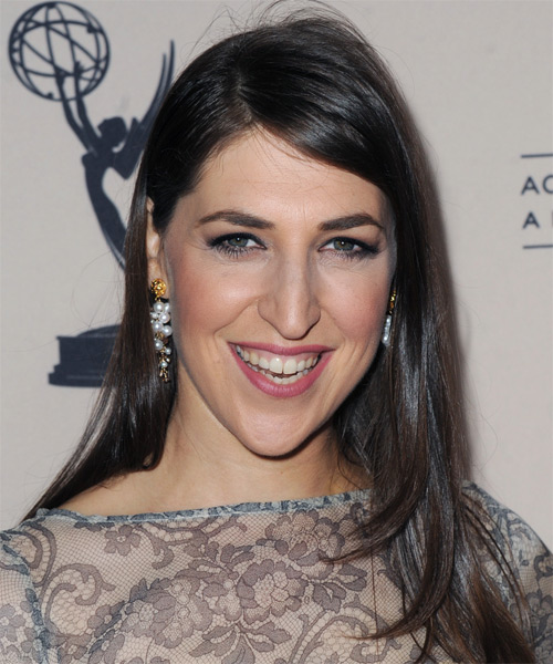 Mayim Bialik Long Straight Casual    Hairstyle   - Dark Ash Brunette Hair Color