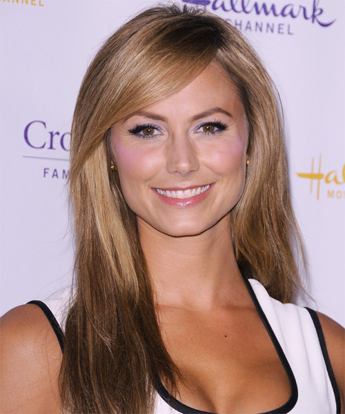 Stacy Keibler Long Straight Casual   Hairstyle with Side Swept Bangs  - Medium Brunette (Caramel)
