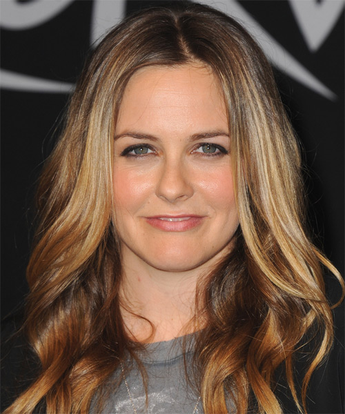 Alicia Silverstone Long Wavy Casual    Hairstyle   - Dark Copper Blonde Hair Color with Light Blonde Highlights