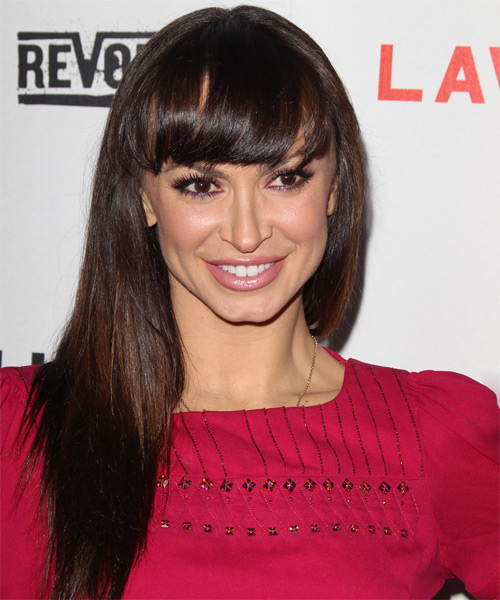 Karina Smirnoff Long Straight Casual   Hairstyle with Blunt Cut Bangs  - Dark Brunette (Mocha)