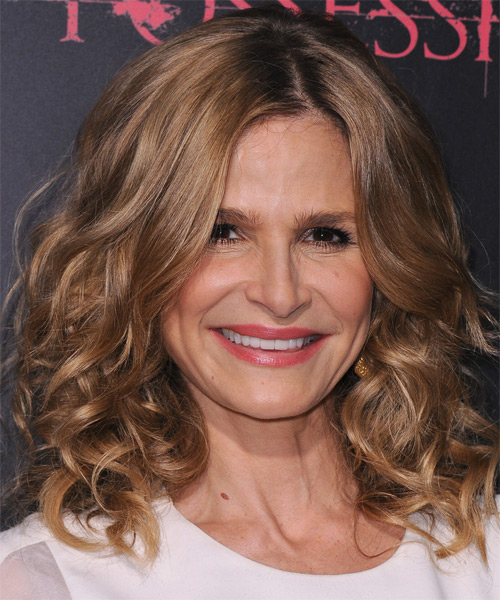 Kyra Sedgwick Medium Curly   Light Caramel Brunette   Hairstyle   with  Blonde Highlights