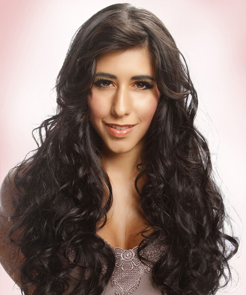 Long Curly Casual    Hairstyle   - Dark Brunette Hair Color