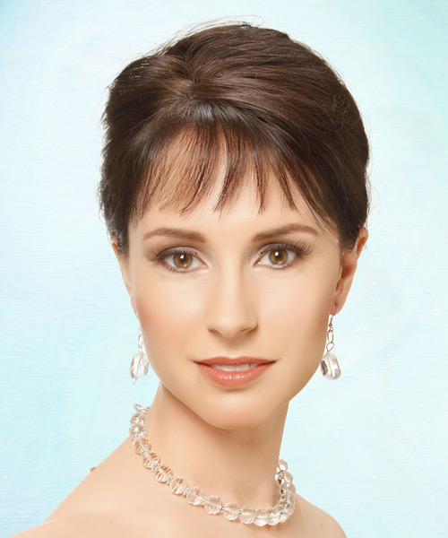 Updo Long Straight Formal Wedding Updo Hairstyle with Blunt Cut Bangs  - Medium Brunette