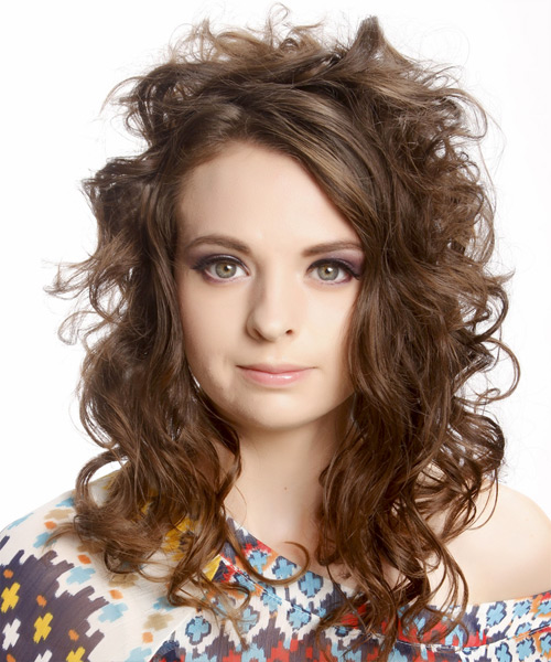 Long Wavy Alternative    Hairstyle with Side Swept Bangs  -  Chocolate Brunette Hair Color