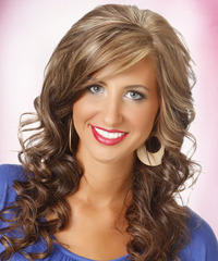 Long Curly Formal    Hairstyle with Side Swept Bangs  - Light Chocolate Brunette Hair Color with  Blonde Highlights