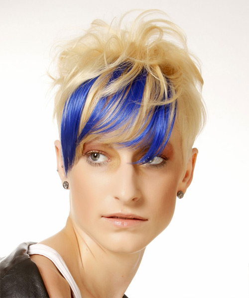 Short Straight Alternative    Hairstyle with Side Swept Bangs  - Light Bright Blonde and Blue Two-Tone Hair Color