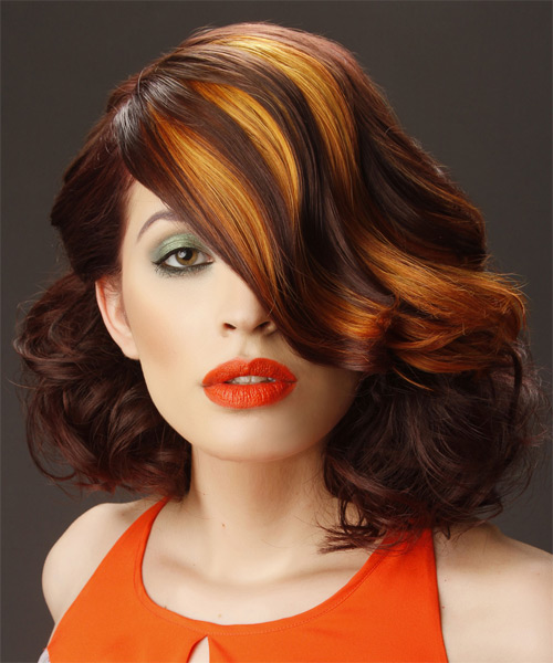 Medium Wavy Formal    Hairstyle with Side Swept Bangs  -  Auburn Brunette Hair Color with Orange Highlights