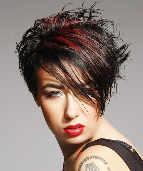 Short Straight Casual    Hairstyle with Side Swept Bangs  - Black  Hair Color with Medium Red Highlights