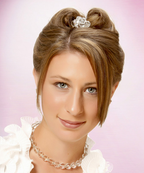 Long Straight Formal   Updo Hairstyle   - Light Caramel Brunette Hair Color with Light Blonde Highlights